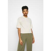 NA-KD ZIP COLLAR T-shirt basic beige NAA21I044