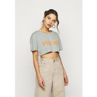 Missguided Petite PEACHY ROLL CROP T-shirt z nadrukiem grey marl M0V21E048