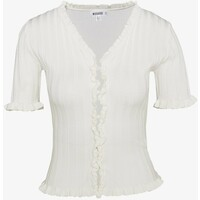 Missguided RIBBED FRILL KNITTED TOP T-shirt z nadrukiem white M0Q21I062