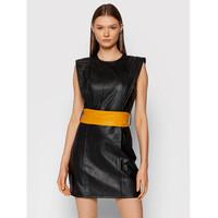 Rinascimento Sukienka z imitacji skóry CFC0104858003 Czarny Slim Fit