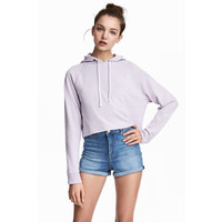 H&M Krótka bluza z kapturem 0381038032 Fioletowy