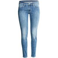 H&M Super Skinny Low Jeans 0399087019 Niebieski denim/Sprany