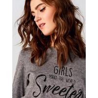 Mohito Sweter z brokatowymi napisami SW861-90X