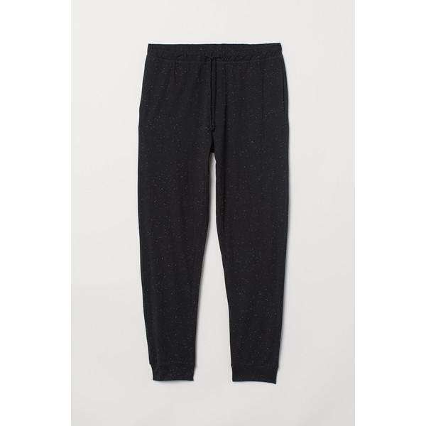 H&M Spodnie piżamowe 0713380005 Czarny/Supełki