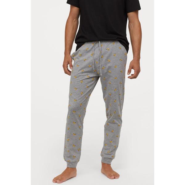 H&M Spodnie piżamowe 0713380005 Szary melanż/Banany
