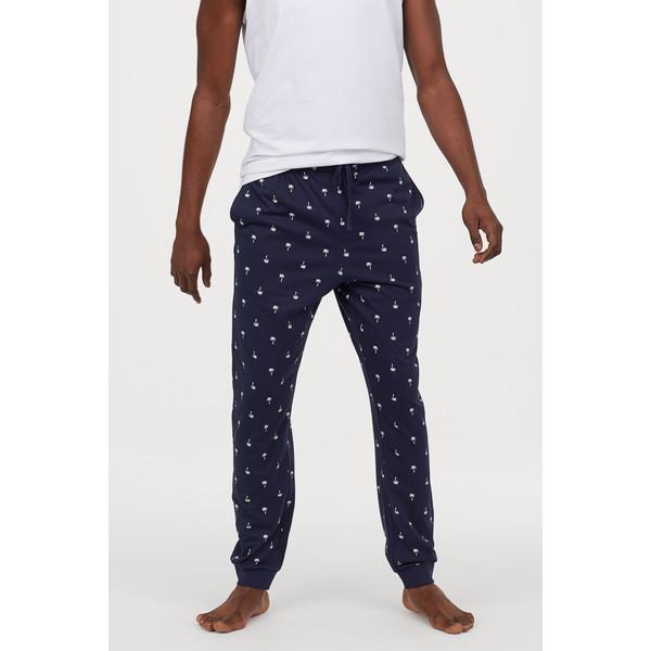 H&M Spodnie piżamowe 0713380005 Ciemnoniebieski/Palmy