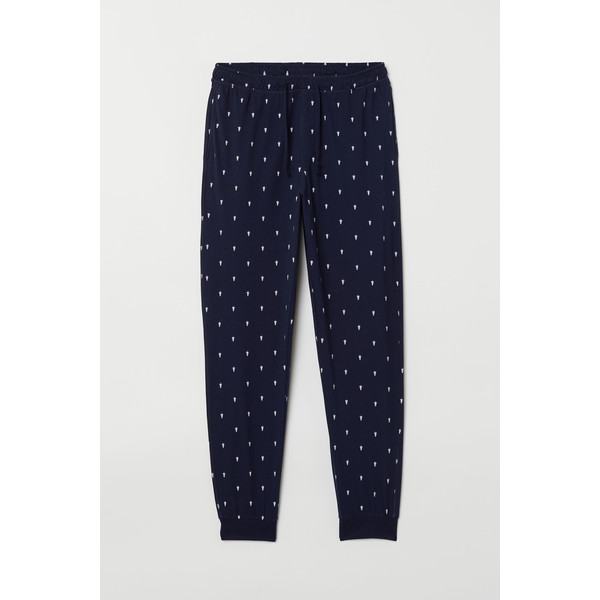 H&M Spodnie piżamowe 0713380005 Ciemnoniebieski/Choinki