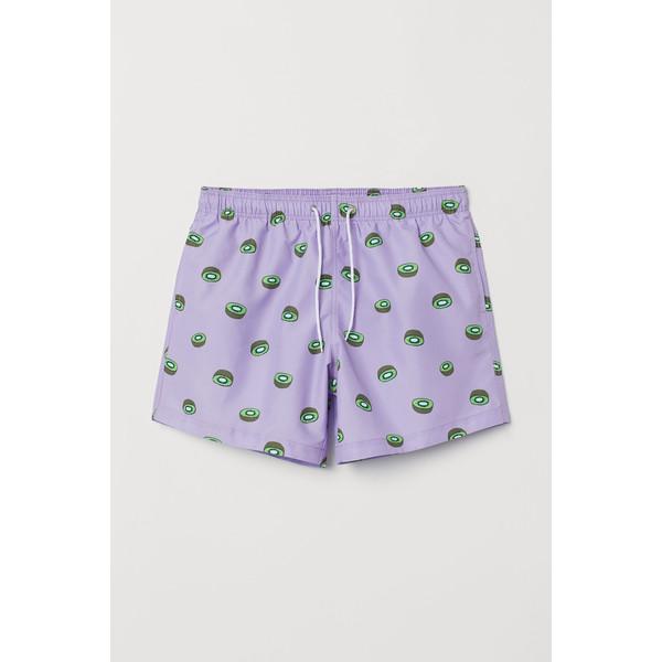 H&M Szorty kąpielowe z nadrukiem 0685604050 Fioletowy/Owoce kiwi
