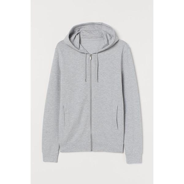 H&M Bluza z kapturem Slim Fit 0805455004 Jasnoszary melanż