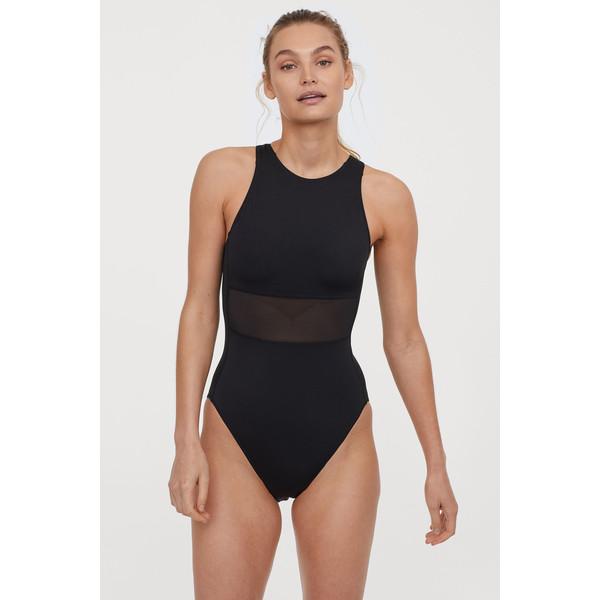 H&M Sportowy kostium kąpielowy 0666656004 Czarny/Siateczka