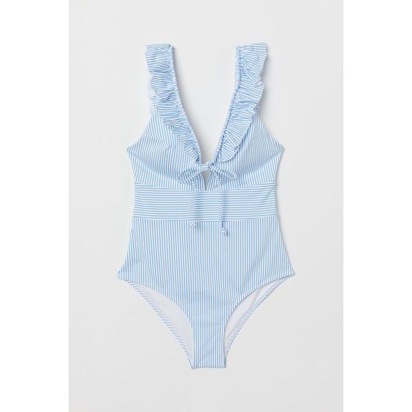 H&M Kostium kąpielowy z falbanami 0698276003 Jasnoniebieski/Białe paski