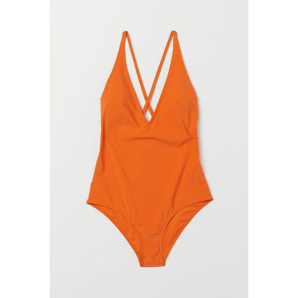 H&M Kostium kąpielowy w serek 0742933003 Pomarańczowy