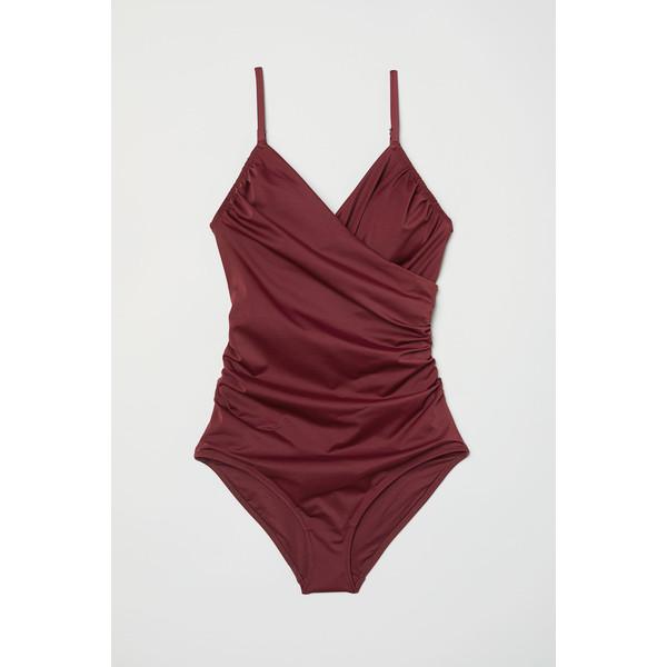 H&M Modelujący kostium kąpielowy 0188183015 Burgundowy