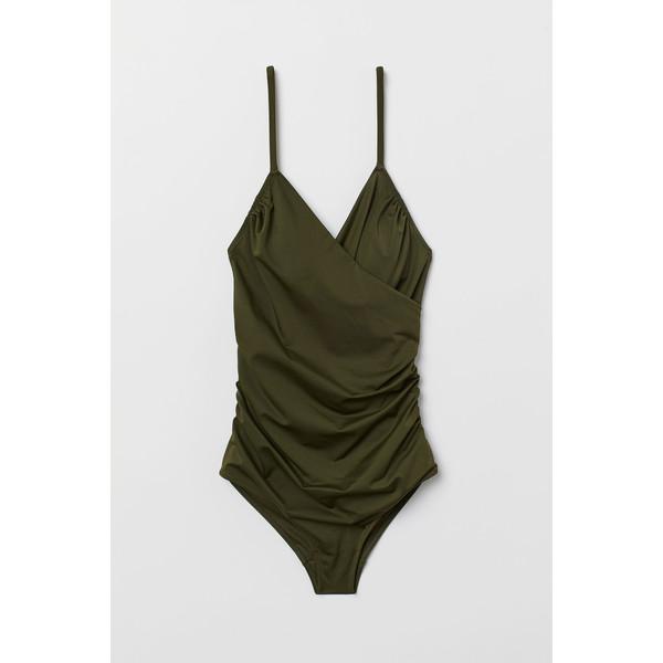 H&M Modelujący kostium kąpielowy 0188183015 Ciemna zieleń khaki