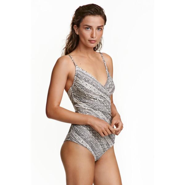 H&M Modelujący kostium kąpielowy 0188183015 Naturalna biel/Wzór