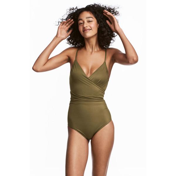H&M Modelujący kostium kąpielowy 0188183015 Zieleń khaki