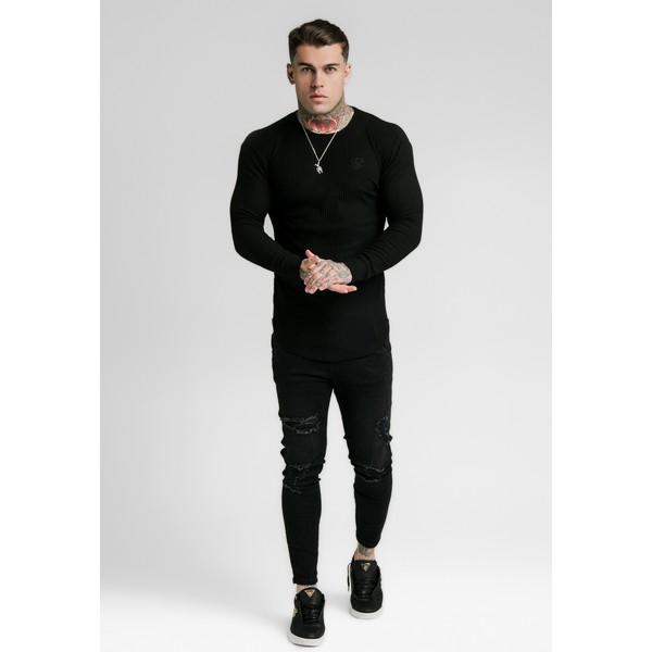 SIKSILK LONG SLEEVE BRUSHED GYM TEE Bluzka z długim rękawem black SIF22Q00A