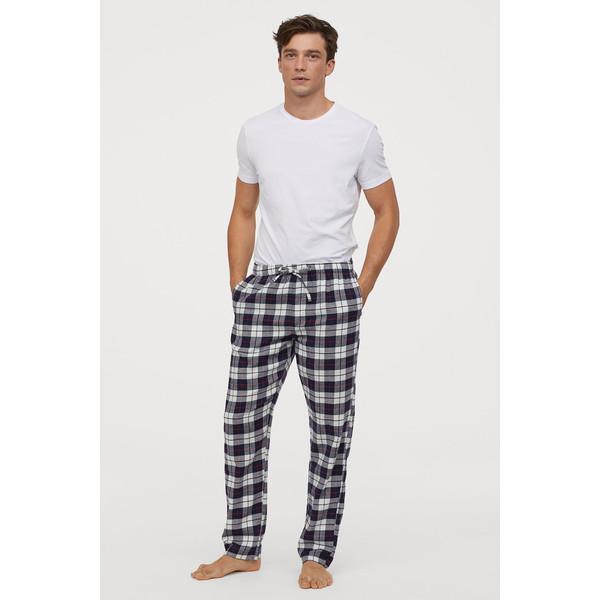 H&M Flanelowe spodnie piżamowe 0543035006 Ciemnoniebieski/Krata