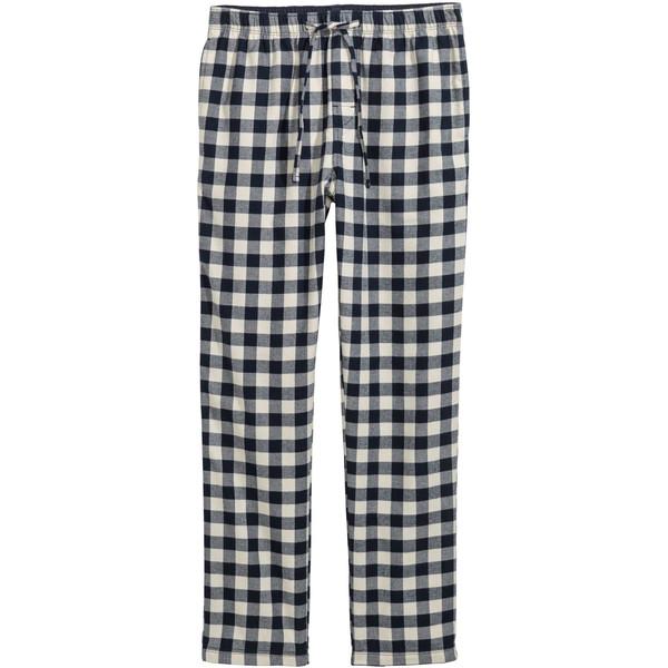 H&M Flanelowe spodnie piżamowe 0543035006 Ciemnoniebieski/Biała krata