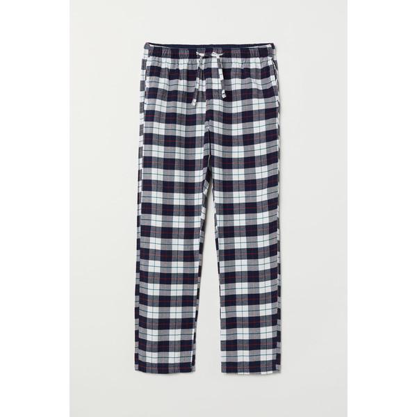 H&M Flanelowe spodnie piżamowe 0543035006 Biały/Ciemnoniebieska krata