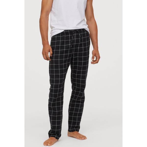 H&M Flanelowe spodnie piżamowe 0543035006 Czarny/Krata