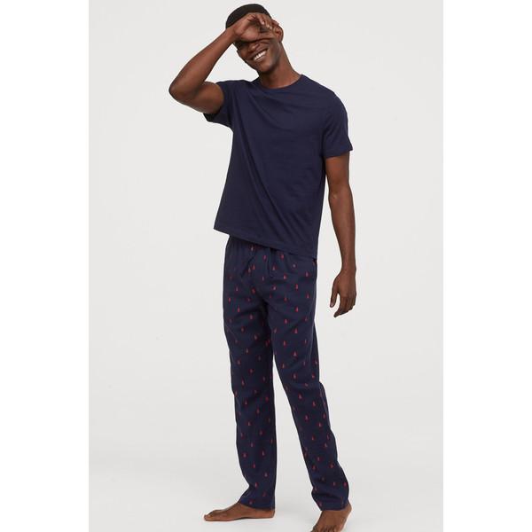 H&M Flanelowe spodnie piżamowe 0543035006 Ciemnoniebieski/Choinki