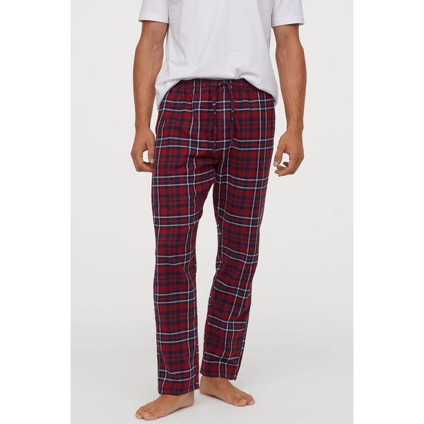 H&M Flanelowe spodnie piżamowe 0543035006 Czerwony/Niebieska krata