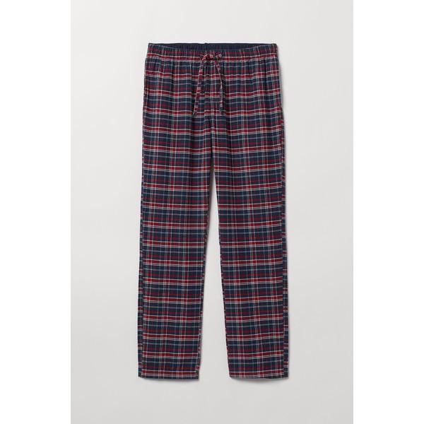 H&M Flanelowe spodnie piżamowe 0543035006 Ciemnoniebieski/Czerwona krata
