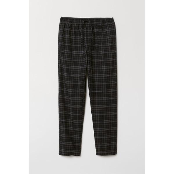 H&M Flanelowe spodnie piżamowe 0543035006 Czarny/Szara krata