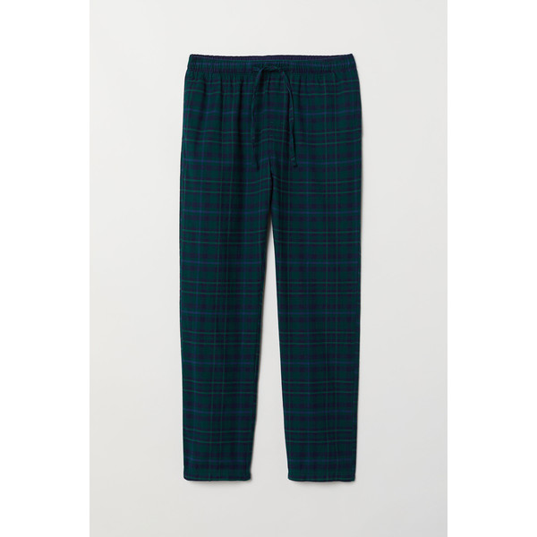 H&M Flanelowe spodnie piżamowe 0543035006 Ciemnozielony/Niebieska krata
