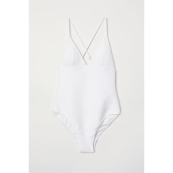 H&M Kostium kąpielowy w prążki 0630994004 Biały