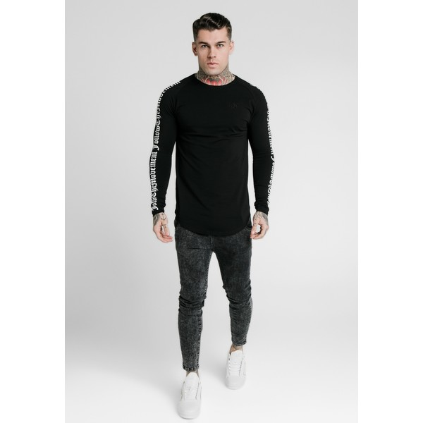 SIKSILK LONG SLEEVE FOLLOW THE MOVEMENT TEE Bluzka z długim rękawem black SIF22O075