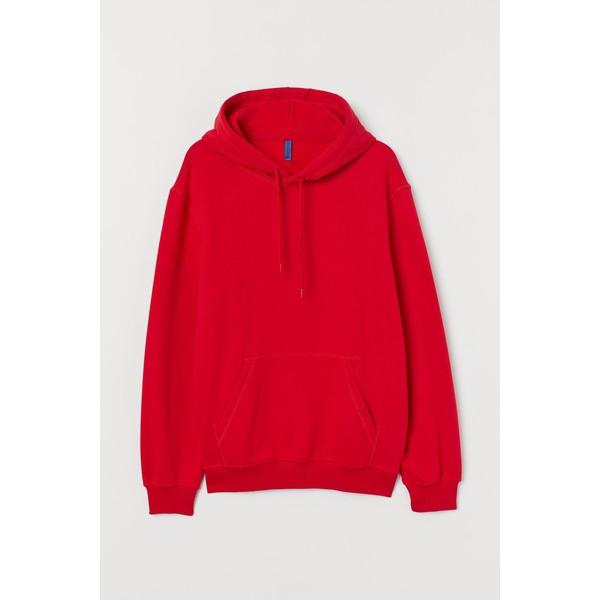 H&M Bluza z kapturem 0685814036 Czerwony
