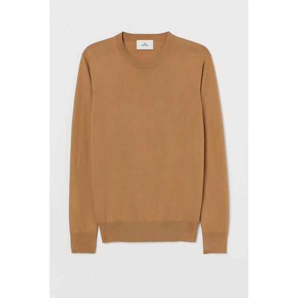 H&M Sweter z domieszką kaszmiru 0760250009 Ciemnobeżowy