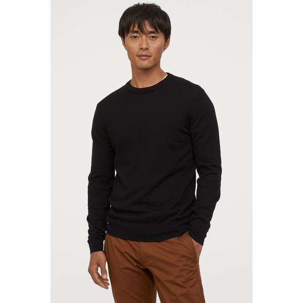 H&M Sweter z domieszką kaszmiru 0760250004 Czarny