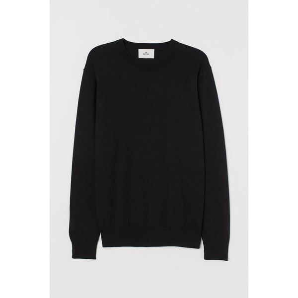 H&M Sweter z domieszką kaszmiru 0760250009 Czarny