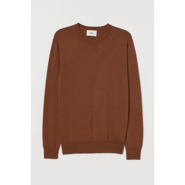H&M Sweter z domieszką kaszmiru 0760250009 Brązowy