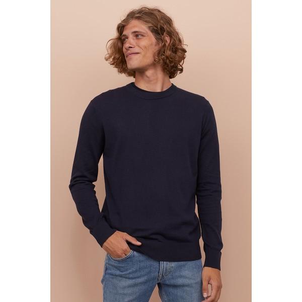 H&M Sweter z domieszką kaszmiru 0760250009 Ciemnoniebieski