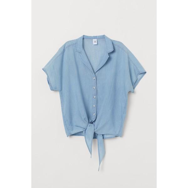 Koszula z wiązaniem u dołu JasnoniebieskiBiałe paski