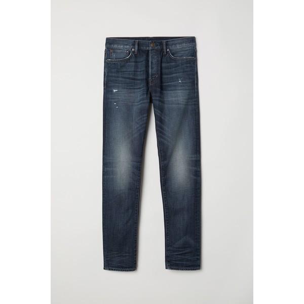 H&M Slim Straight Jeans 0611020022 Ciemnoniebieski denim
