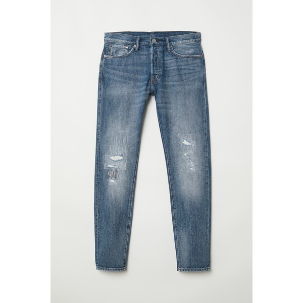 H&M Slim Straight Jeans 0611020022 Niebieski/Trashed