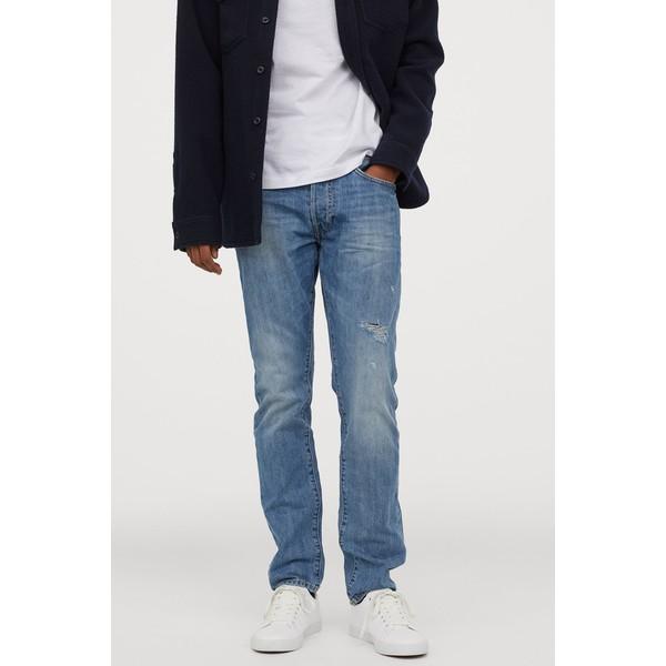 H&M Slim Straight Jeans 0611020022 Niebieski denim/Trashed