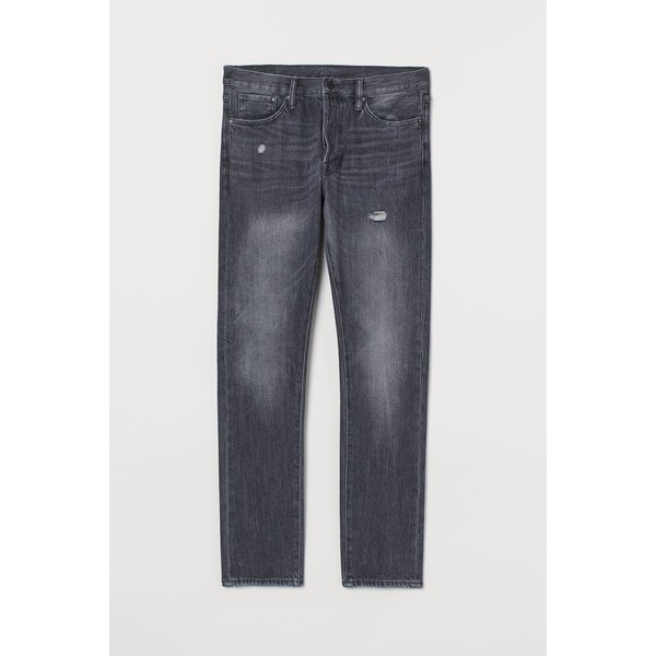 H&M Slim Straight Jeans 0611020022 Ciemnoszary/Trashed