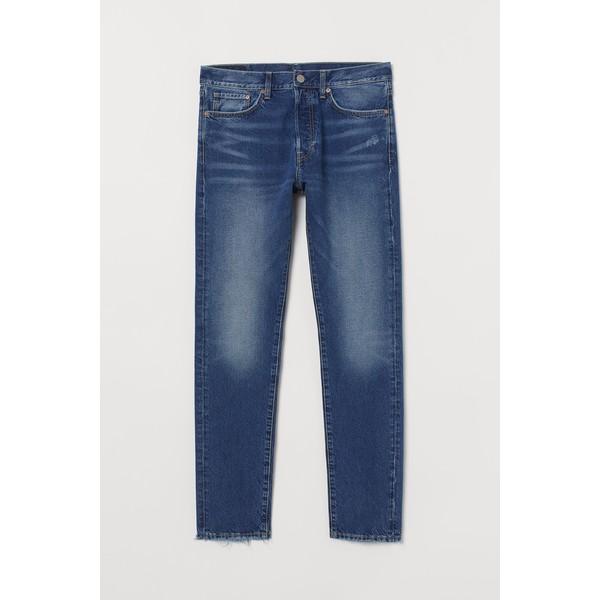 H&M Slim Straight Jeans 0611020022 Ciemnoniebieski denim/Trashed