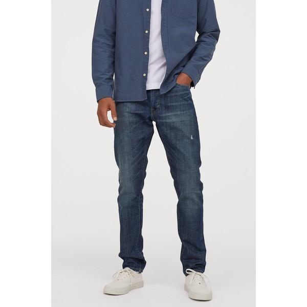 H&M Slim Straight Jeans 0611020022 Ciemnoniebieski/Trashed