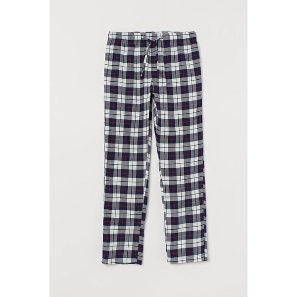 H&M Flanelowe spodnie piżamowe 0543035017 Ciemnoniebieski/Krata