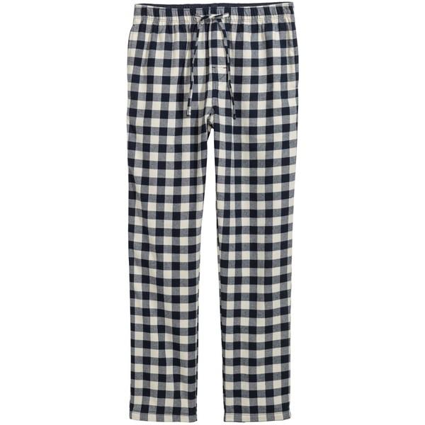 H&M Flanelowe spodnie piżamowe 0543035017 Ciemnoniebieski/Biała krata