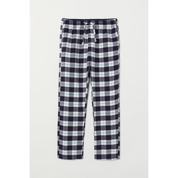 H&M Flanelowe spodnie piżamowe 0543035017 Biały/Ciemnoniebieska krata