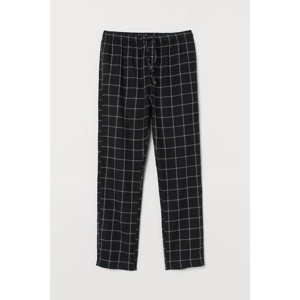 H&M Flanelowe spodnie piżamowe 0543035017 Czarny/Krata