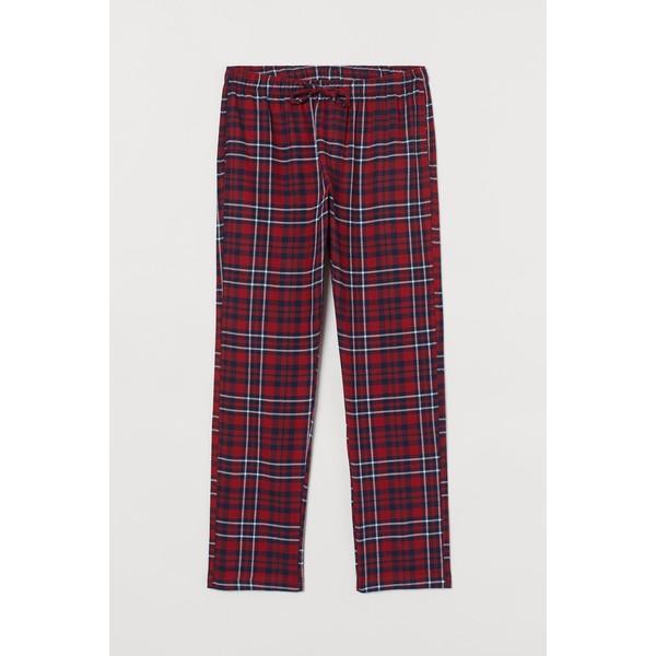 H&M Flanelowe spodnie piżamowe 0543035017 Czerwony/Niebieska krata